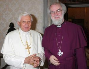 Pope Benedict XVI with the Archbishop of Canterbury, Dr Rowan Williams, at the Vatican